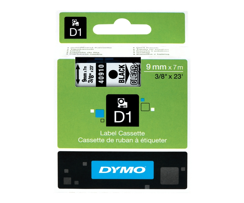 Dymo D1 9mm Black/Clear labels 40910