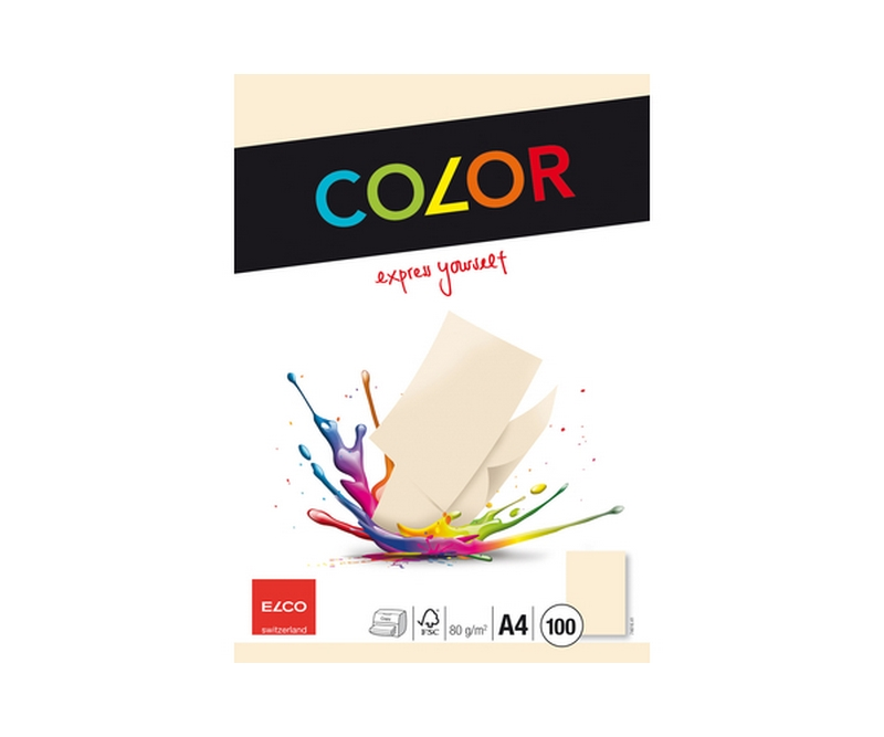 ELCO COLOR kopipapir, 80g A4 100 ark, Cream