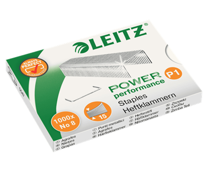 Hæfteklammer Leitz Power Performance P1 No 8 æske a 1000