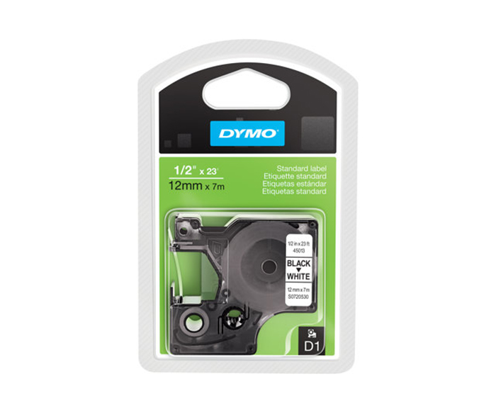 Dymo D1 Tape 7m x 12mm sort på hvid